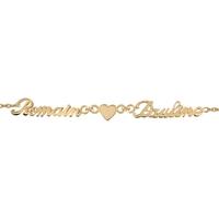 Bracelet 2 prénoms découpés et coeur en plaqué or 92358-2