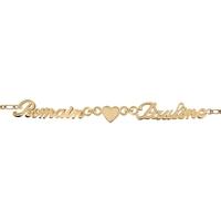 Bracelet 2 prénoms découpés et coeur en plaqué or 92356-2