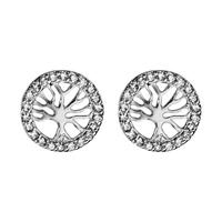 Boucles d'oreilles femme motif arbre de vie en argent 925/000 et oxydes de zirconium 017037