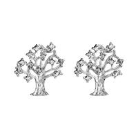 Boucles d'oreilles femme motif arbre de vie en argent 925/000 et oxydes de zirconium 017144