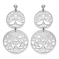 Boucles d'oreilles femme motif  arbre de vie en argent 925/000 rhodié 017114