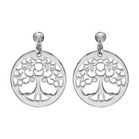 Boucles d'oreilles femme motif arbre de vie en argent 925/000 rhodié 017113