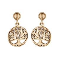 Boucles d'oreilles femme motif arbre de vie en plaqué or et oxydes de zirconium 917268W