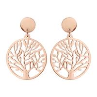 Boucles d'oreilles femme motif arbre de vie en acier rose 117839d