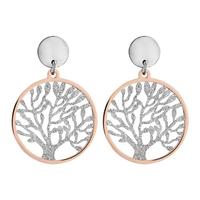 Boucles d'oreilles femme motif arbre de vie en acier 117956