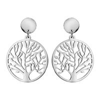 Boucles d'oreilles femme motif arbre de vie en acier 117839