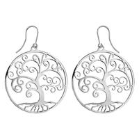 Boucles d'oreilles femme motif arbre de vie en acier 117317