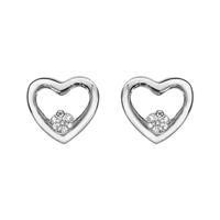 Boucles d'oreilles femme motif cœur en argent 925/000 rhodié et oxydes de zirconium 016766