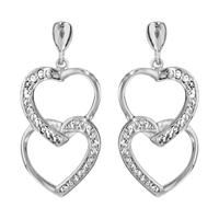 Boucles d'oreilles femme motif coeurs en argent 925/000 rhodié et oxydes de zirconium 016954