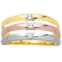 Bague femme 3 anneaux 3 ors 750/000 K00116