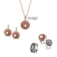 Parure vintage argent rosé femme Orage AK165 - lombartbijoux.com