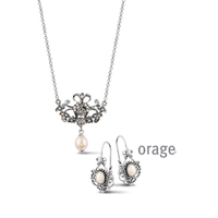 Parure vintage perles pour femme Orage argent vieilli AK146 - lombartbijoux.com