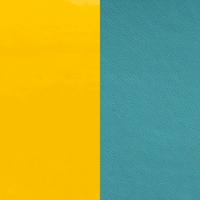 Cuir réversible pour colliers ronds Les Georgettes C3 Jaune vernis/Bleu basalte