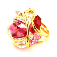 bague andréa marazzini RDW BIG FLOWER MIX RED profil-bijouterie lombart lille