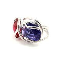 bague andréa marazzini double rouge et violet profil-bijouterie lombart lille