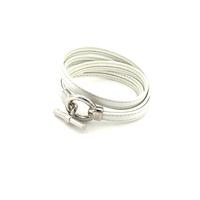 Bijoux cuir : Bracelet en cuir blanc et argent 527B004BC