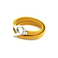Bijoux cuir : Bracelet en cuir jaune et argent 527B004JA