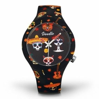 Montre Doodle Watch Orange Skull Calaveras