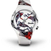 Montre Doodle Watch Oriental Carpe Koi blanche