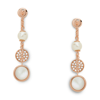 Boucles d'oreilles pendantes en nacre et cristal Swarovski FOSSIL JF02958791
