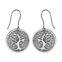 Boucles d'oreilles femme motif arbre de vie argent 925/000 rhodié 017391