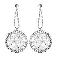 Boucles d'oreilles femme motif arbre de vie en argent 925/000 rhodié 017667