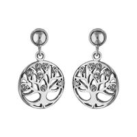 Boucles d'oreilles motif arbre de vie femme en argent 925/000 rhodié et oxydes de zirconium 017268W