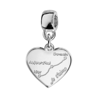 Charms coulissant courbe d'amour argent Thabora
