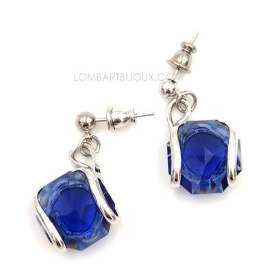 boucles d'oreilles fantaisie femme swarovski andréa marazzini e1 bleu saphir rh-lombartbijoux.com