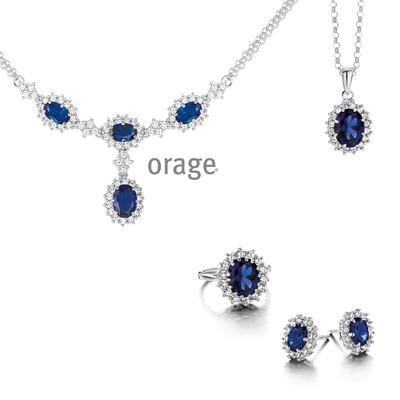 Parure argent femme bleu saphir Orage AK084 - lombartbijoux.com