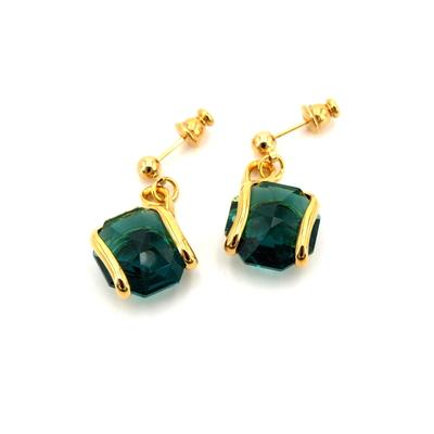 boucles d'oreilles andréa marazzini E1 vert emeraude doré-bijouterie lombart lille