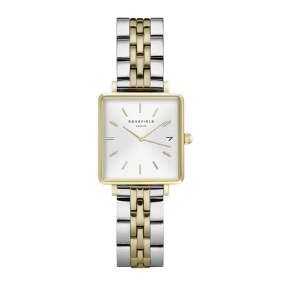 Montre Rosefield The Boxy XS Blanc-Duo Argent et Or