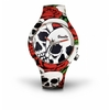 Montre Doodle Watch Roses and Skull blanche