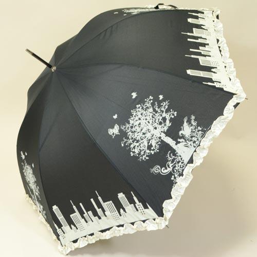 Parapluie femme avec imprimé noir et blanc