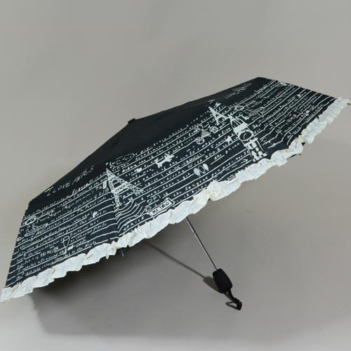 Parapluie pliable noir avec froufrou en bordure