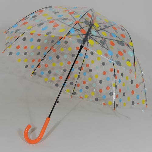 Parapluie transparent pas cher Orange Dots