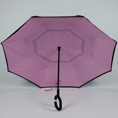 Parapluie fermeture inversée rose