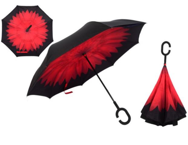 Parapluie ingénieux inversé daisy rouge