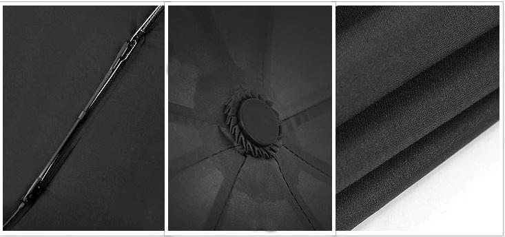 Parapluie pliant de qualité noir détails
