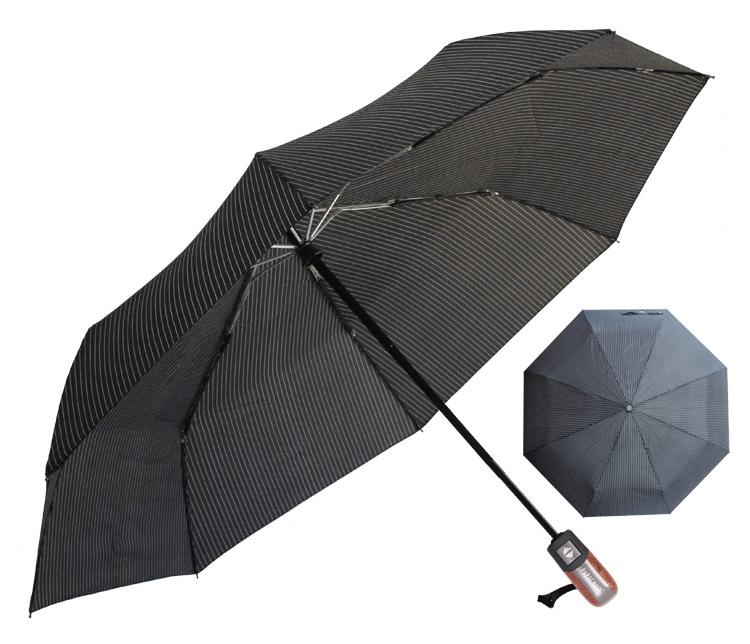 Parapluie pliant de qualité noir rayures profil