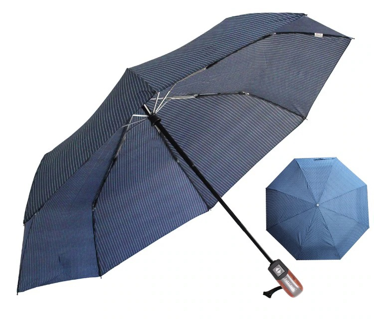 Parapluie pliant de qualité bleu rayures profil
