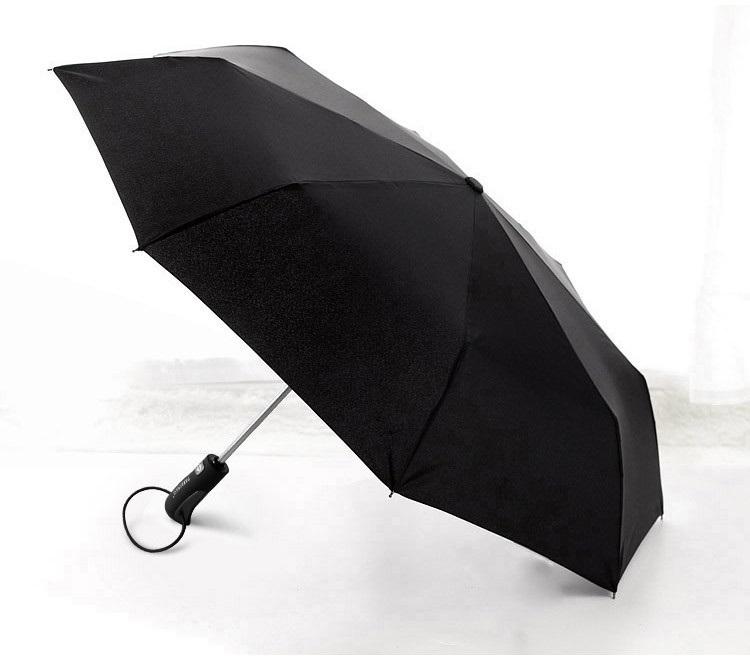 Parapluie pliant grand diamètre noir profil