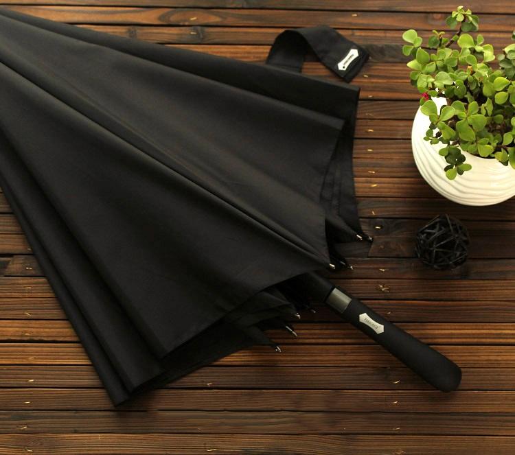 Parapluie long automatique noir déplié non ouvert