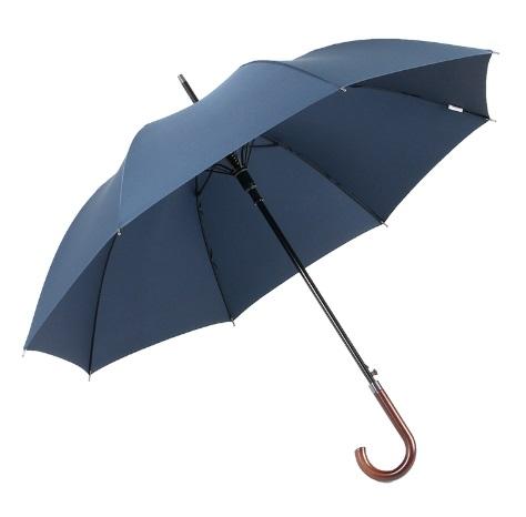 Parapluie long bleu poignée courbe en bois global