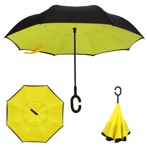Parapluie inversé jaune orange
