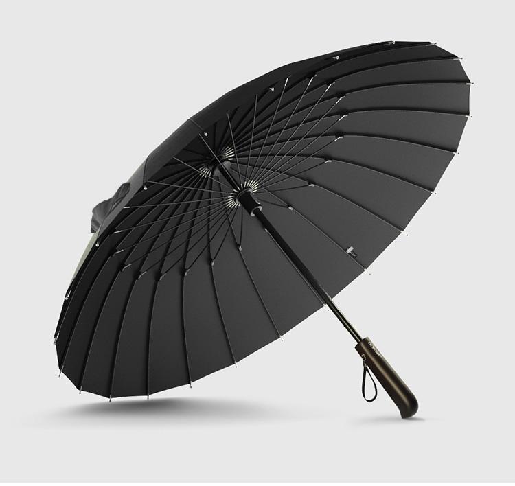 Parapluie long 24 baleines noir dessous