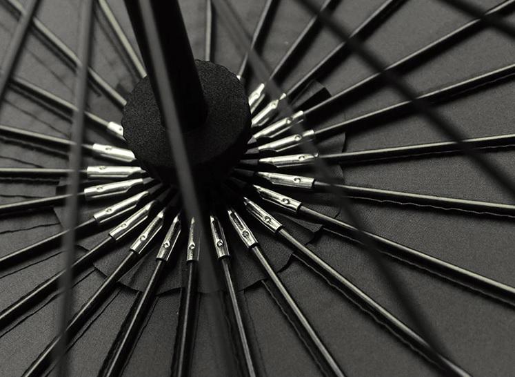 Parapluie long 24 baleines noir détail