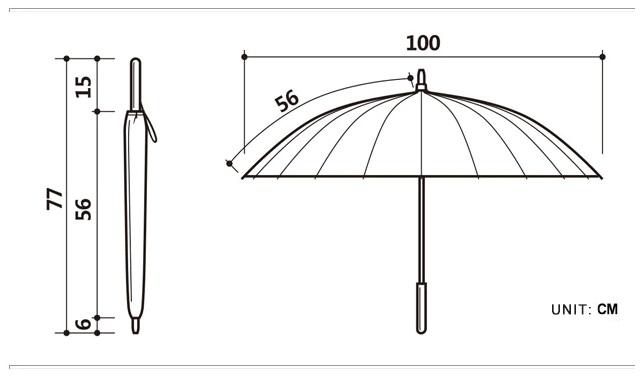 Parapluie long 24 baleines noir mesures