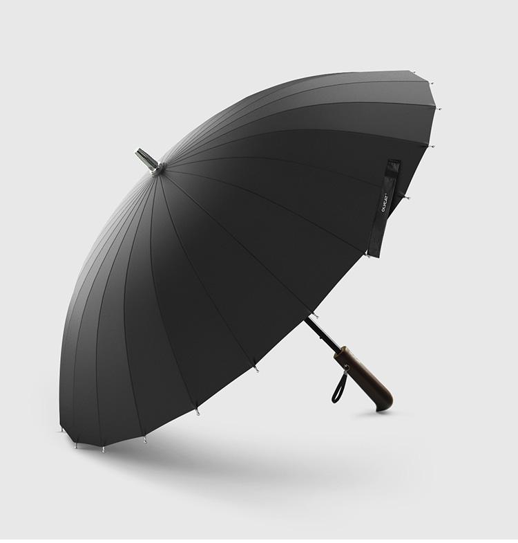 Parapluie long 24 baleines noir profil