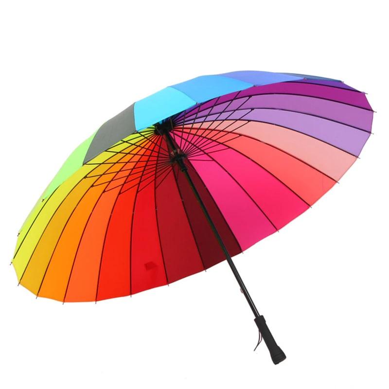 Parapluie arc en ciel à 24 baleines